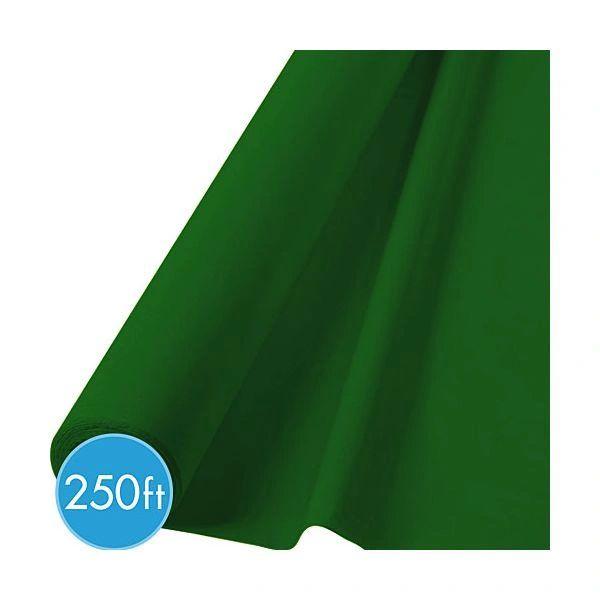 "Festive Green Jumbo Plastic Table Roll, 40"" x 250'"