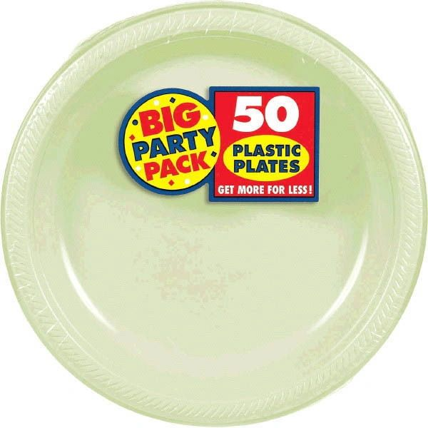 Leaf Green Big Party Pack Plastic Plates, 10 1/4""