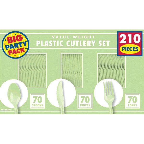 Leaf Green Value Window Box Cutlery Set, 210ct