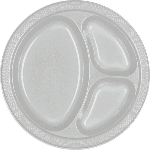 """Silver Divided Plastic Plates, 10 1/4"""" - 20ct"""