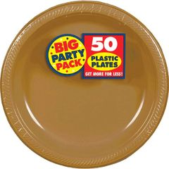 """Big Party Pack Gold Plastic Plates, 7"""" - 50ct"""
