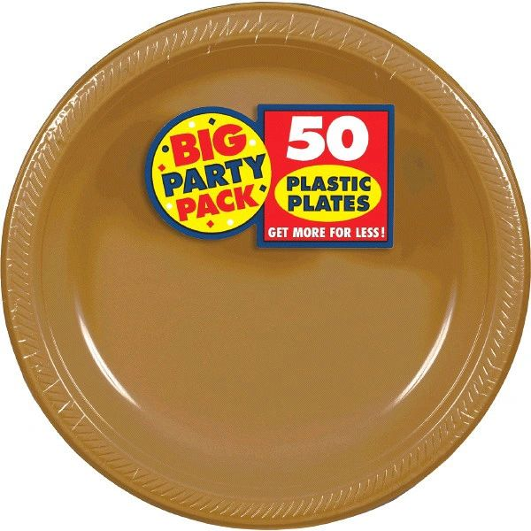 """Big Party Pack Gold Plastic Dinner Plates, 10 1/4"""" - 50ct"""