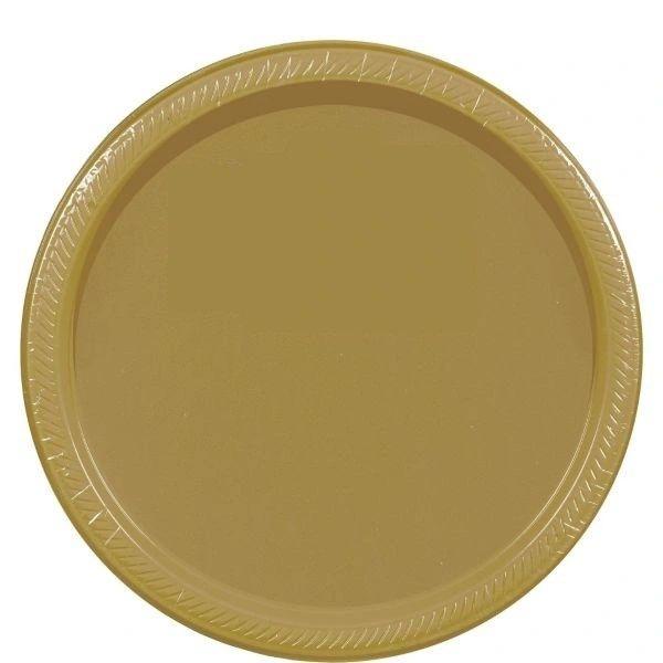 "Gold Paper Dessert Plates, 7"" - 20ct"