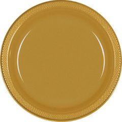 "Gold Sparkle Plastic Dessert Plates, 7"" - 20ct"