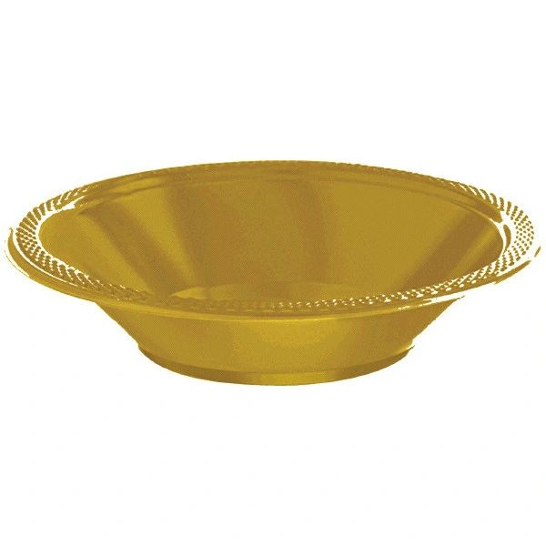 Gold Plastic Bowls, 12oz - 20ct