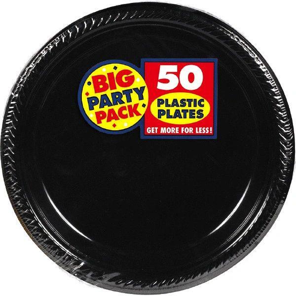"Big Party Pack Black Plastic Dessert Plates, 7"" - 50ct"
