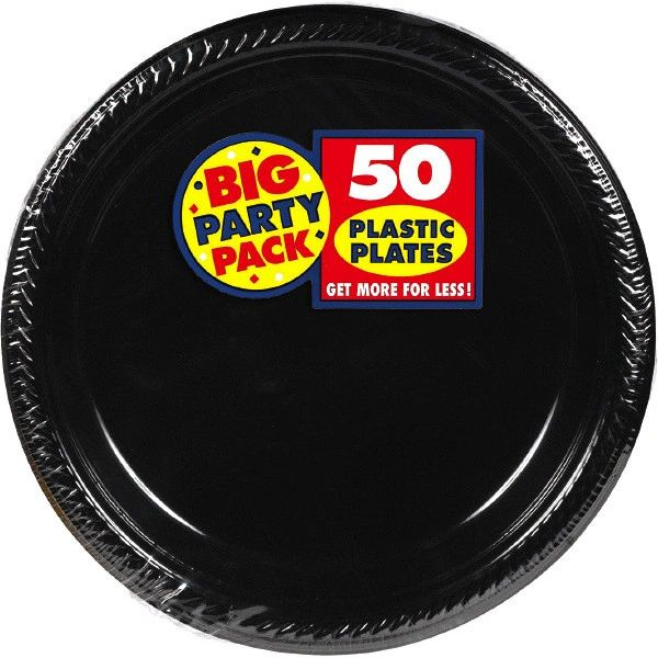 "Big Party Pack Black Plastic Dinner Plates, 10 1/4"" - 50ct"