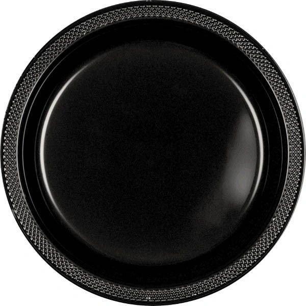 "Jet Black Plastic Dinner Plates, 10 1/4"" - 20ct"