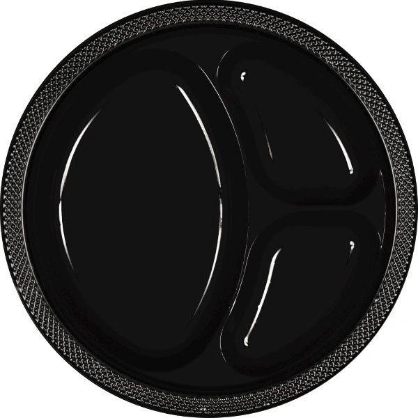"Jet Black Divided Plastic Plates, 10 1/4"" - 20ct"
