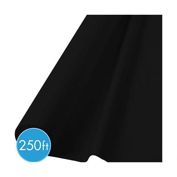 "Extra-Long Jet Black Plastic Table Roll, 40"" x 250'"