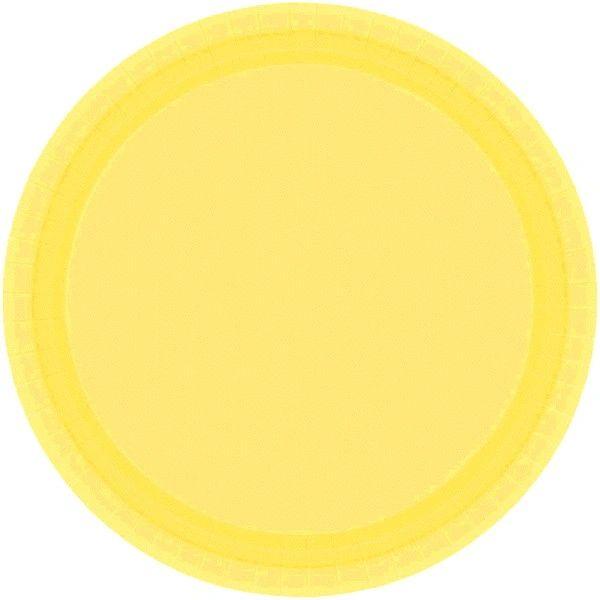 "Light Yellow Paper Dessert Plates, 7"" - 20ct"