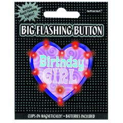 Big Flashing Birthday Girl Button