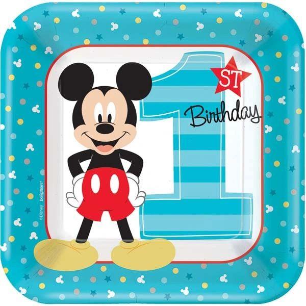 "©Disney Mickey's Fun To Be One Dessert Plates, 7"" - 8ct"