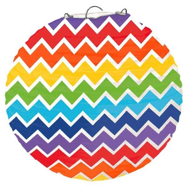 Large Rainbow Chevron Paper Lantern