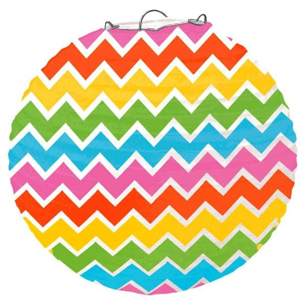 Large Multi-Color Chevron Paper Lantern