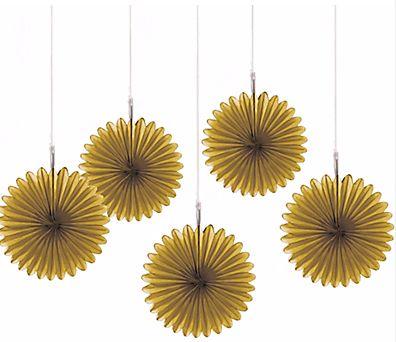 Gold Mini Paper Fan Decorations, 5ct