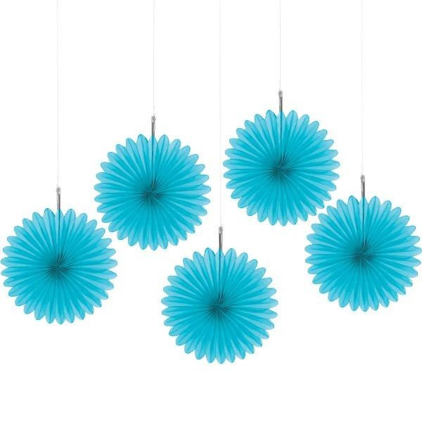 Caribbean Blue Mini Hanging Fan Decorations, 5ct