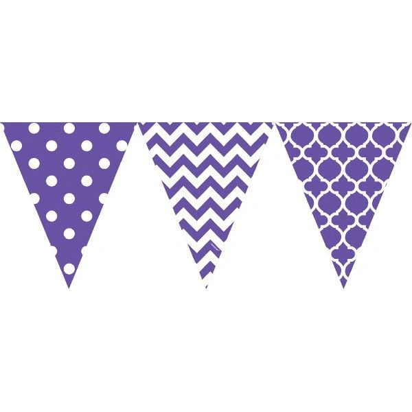 Large Printed Pennant Banners - New Purple