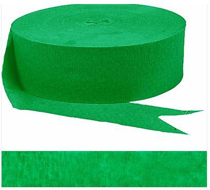 Festive Green Jumbo Solid Crepe Streamer, 500ft