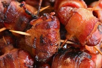 BACON WRAPPED LITTLE SMOKIES Appetizer starter nibble hors d'oeuvre cocktail snack taster