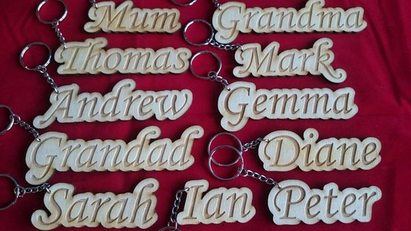 Personalised Wedding Table Place Name Settings Wooden Keyrings
