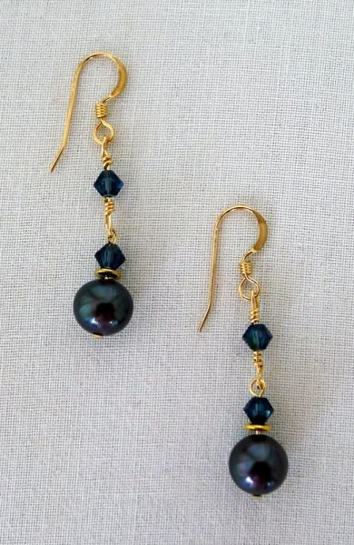 Raven Wing Pearl and 14 kt Gold Filled Earrings - long