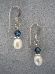 Crystal and Pearl Earrings in Blue
