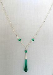 Handcrafted Glass Bead Tear Drop Necklace in Teal Green