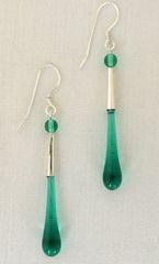 Handcrafted Glass Bead Tear Drop Earrings in Teal Green