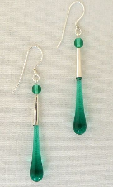 Handcrafted Glass Bead Tear Drop Earrings in Teal Green