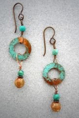 Copper Earrings with Jasper and Turquoise Dangles.