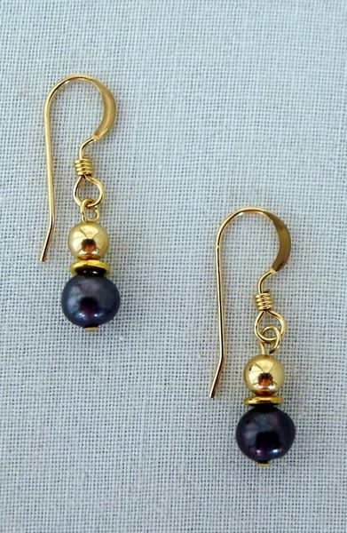 Raven Wing Pearl and 14 kt Gold Filled Earrings - small