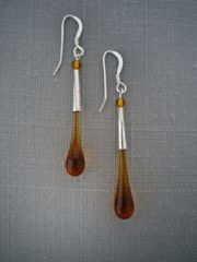 Handcrafted Glass Bead Tear Drop Earrings in Amber