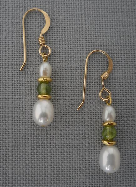 Peridot, Pearl and 14 kt Gold Filled Earrings