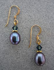 Raven Wing Pearl and 14 kt Gold Filled Earrings