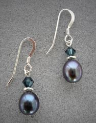 Raven Wing Pearl and Sterling Silver Earrings