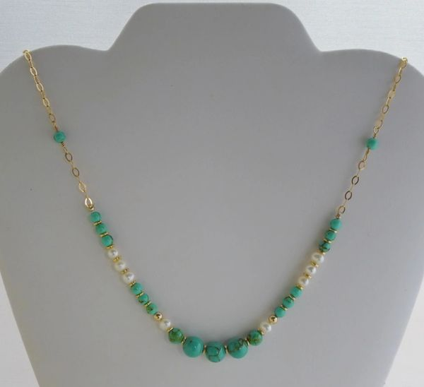 Magnesite and Pearl Necklace