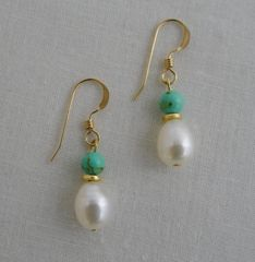 Magnesite and Pearl Earrings