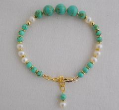 Magnesite and Pearl Bracelet