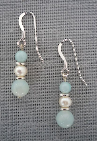 Amazonite and Pearl Earrings