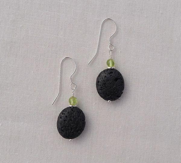 Lava and Peridot Earrings