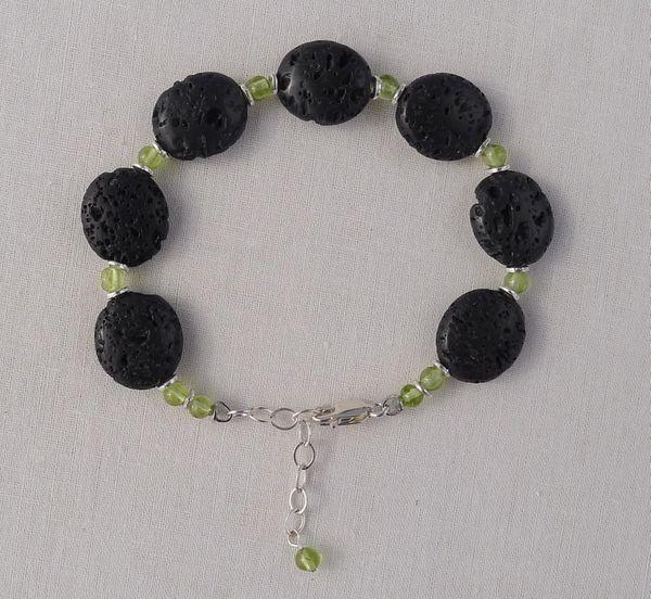 Lava and Peridot Bracelet