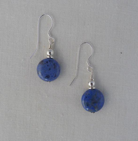 Dumortierite and Sterling Silver Earrings