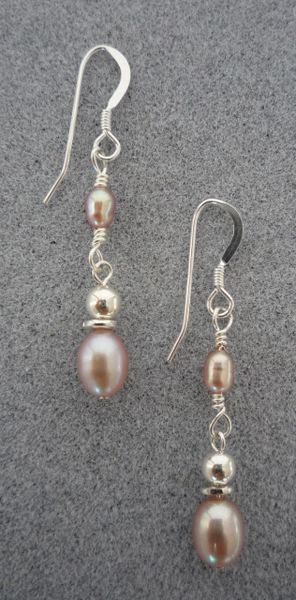 Pink Pearl and Sterling Silver Earrings