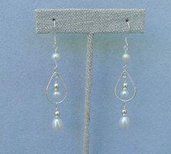Pearls with Sterling Silver Hoop Earrings
