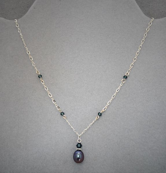 Raven Wing Pearl and Sterling Silver Necklace