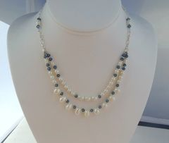 Pearls with Cut Crystal and Sterling Silver Necklace