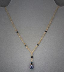 Raven Wing Pearl with a 14 kt Gold Filled Chain