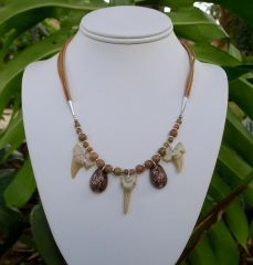 Shark Tooth and Leather Necklace
