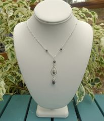 Pearl and Sterling Silver Hoop Necklace
